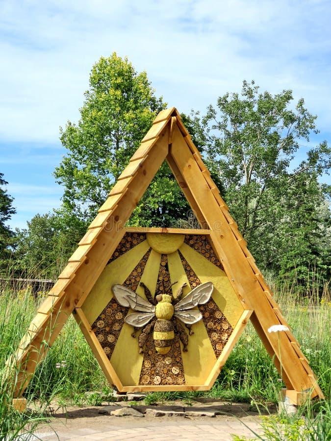 Niagara wooden bee 2016. Wooden bee in garden of Niagara Falls Ontario, 16 July 2016 Canada stock images