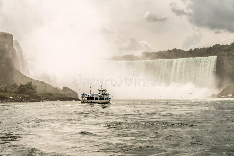 NIAGRA,安大略加拿大06 09 薄雾小船的佣人的2017个游人在尼亚加拉瀑布美国的 免版税图库摄影