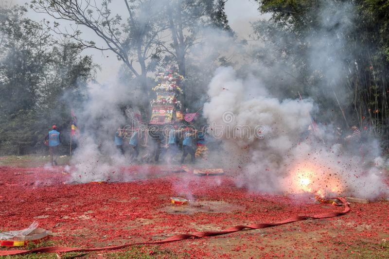 Nian一个独特的传统节日在广东西部举行的李,中国 免版税库存照片