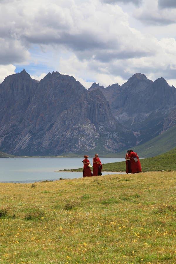 Nianbaoyuze berg och sjöar med buddister från Qinghai-provinsen royaltyfria foton