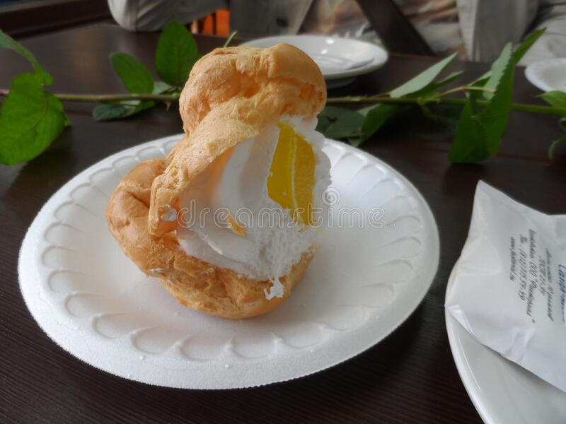 A nibbled Shu cake in a pastry shop on Nevsky. Near the Anichkov bridge stock images
