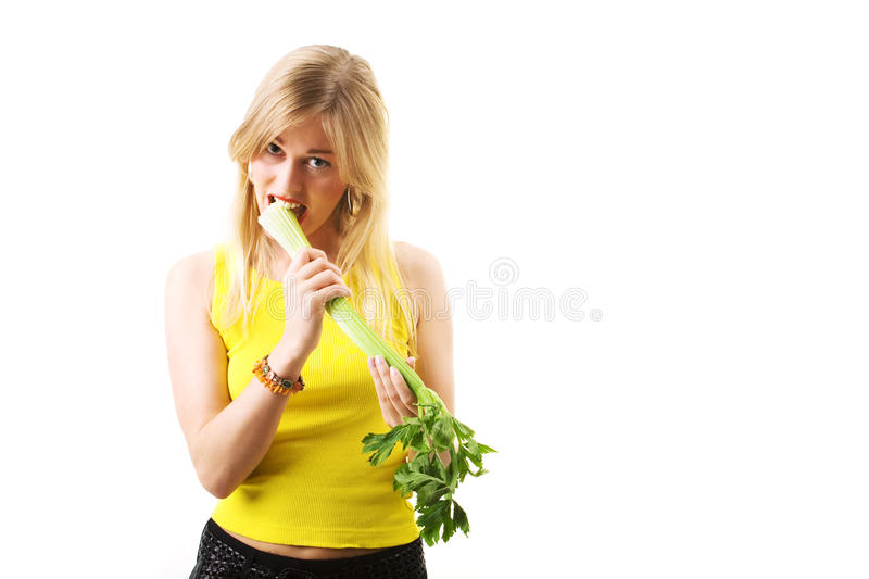Nibbling Celery Stock Image