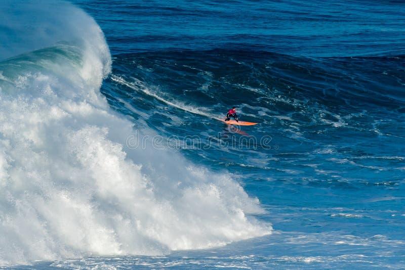 Nic Lamb USA. NAZARE, PORTUGAL - DECEMBER 20, 2016: Nic Lamb USA during the Nazare Challenge 2016 - Big Wave Tour #3 at Praia do Norte - Nazare, Portugal royalty free stock photo