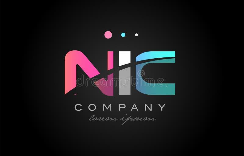 NIC N I C Three Letter Logo Icon Design Stock Vector