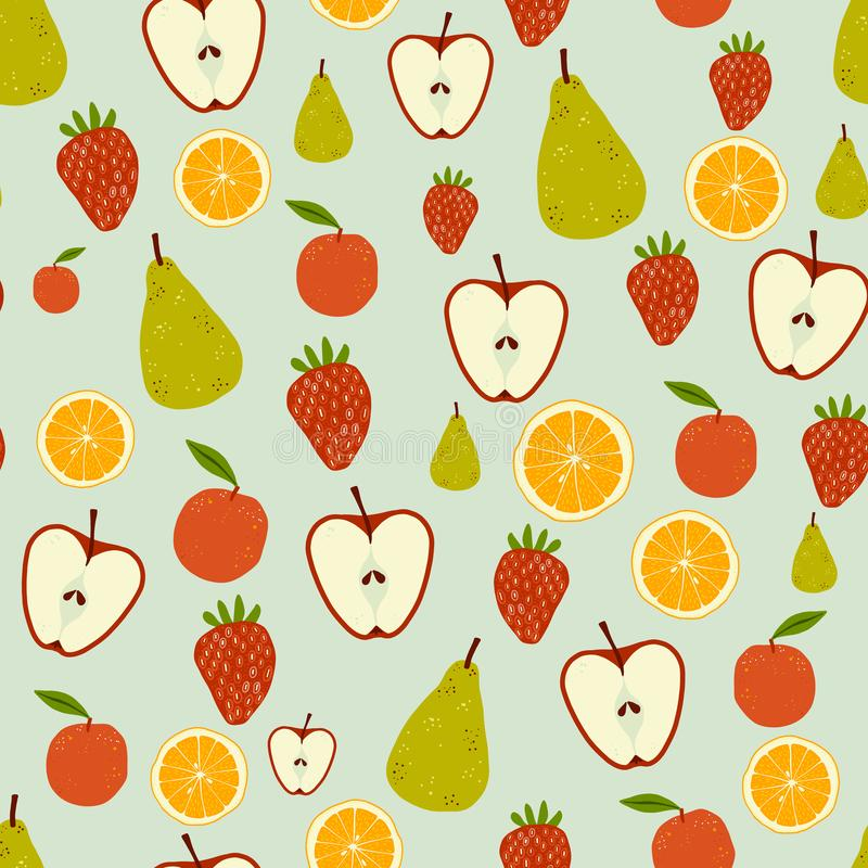 Fresh fruit seamless repeating tossed pattern. A fruity seamless repeating pattern of apples, pears, oranges and strawberries. Ideal for backgrounds, textiles stock illustration