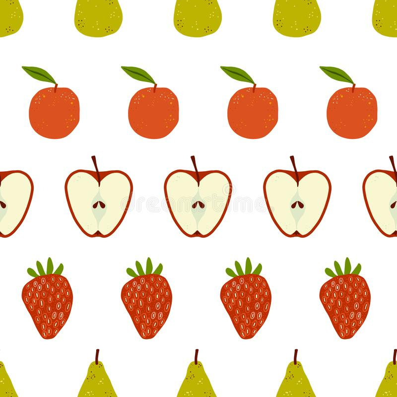 Fruity stripes seamless repeat pattern. Seamlessly repeating fruit pattern with pears, oranges, apples and strawberries. Ideal for backgrounds, textiles, kitchen royalty free illustration