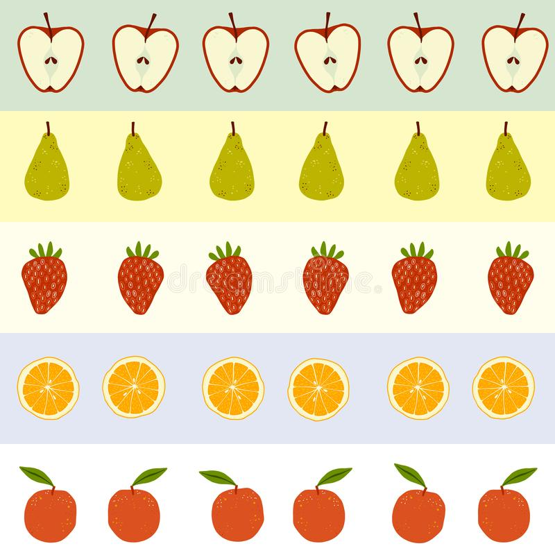 Seamless repeat fruity pattern with apples, pears, strawberries and oranges. Arranged in horizontal stripes. Ideal for backgrounds, textiles, kitchen items stock illustration