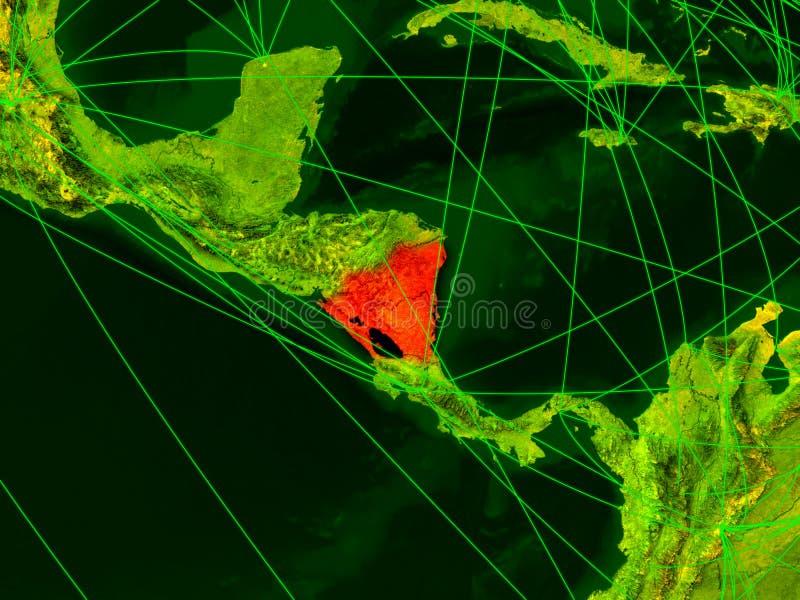 Nicarágua no mapa digital ilustração stock