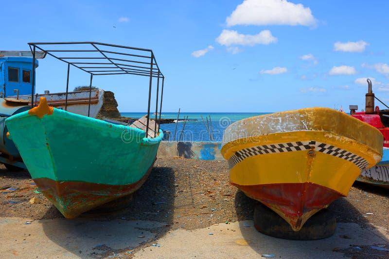 nicaragua Boten op de pijler van San Juan Del sur stock fotografie