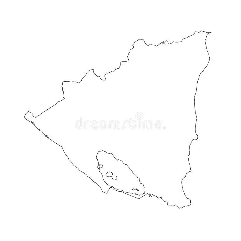 Nicaragua - fast svart översiktsgränsöversikt av landsområde Enkel lägenhet stock illustrationer