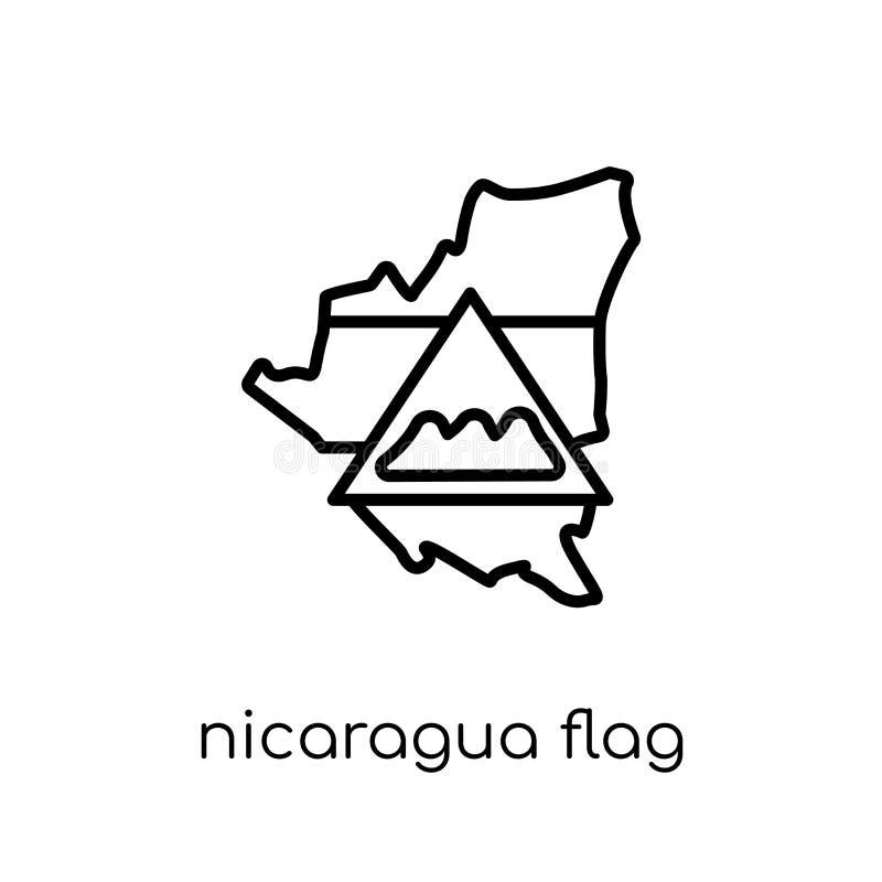 Nicaragua flag icon. Trendy modern flat linear vector Nicaragua stock illustration