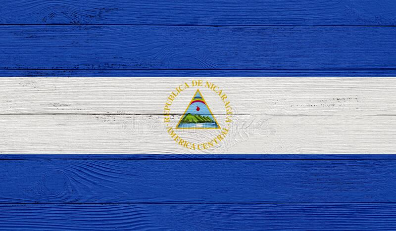 Nicaragua flag on a wooden texture. Wood texture, planks Wooden texture background flag. Flag painted with paints on wood vector illustration