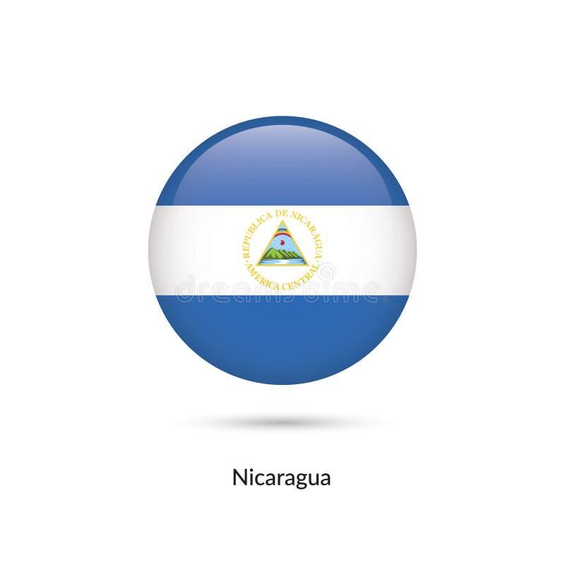 Nicaragua flagga - rund glansig knapp stock illustrationer