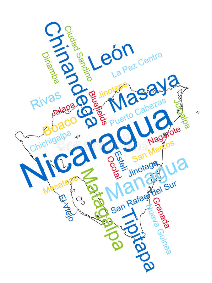Nicaragua Map and Cities. Nicaragua map and words cloud with larger cities royalty free illustration