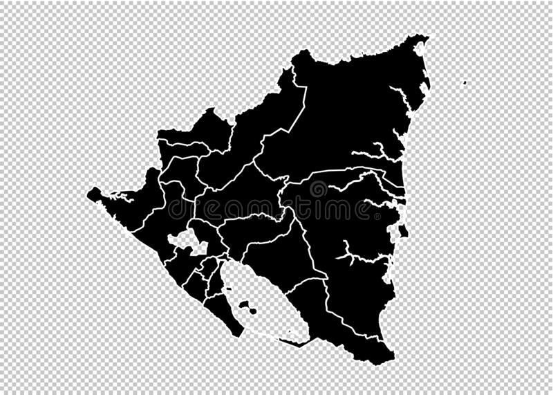 Nicaragua map - High detailed Black map with counties/regions/states of nicaragua. nicaragua map isolated on transparent vector illustration