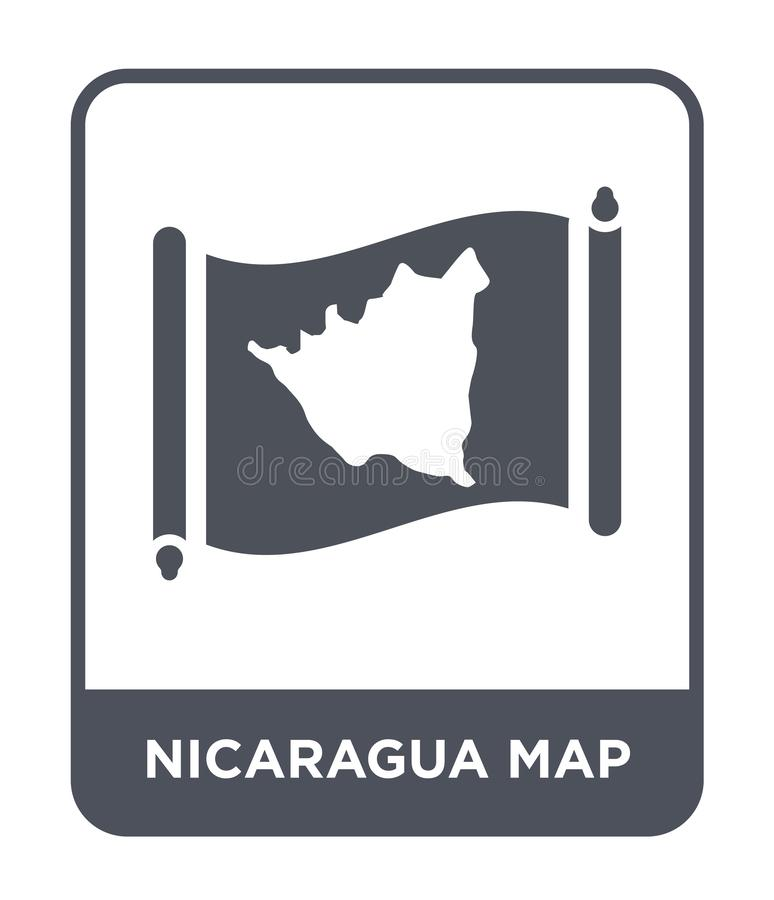 Nicaragua map icon in trendy design style. nicaragua map icon isolated on white background. nicaragua map vector icon simple and. Modern flat symbol for web royalty free illustration