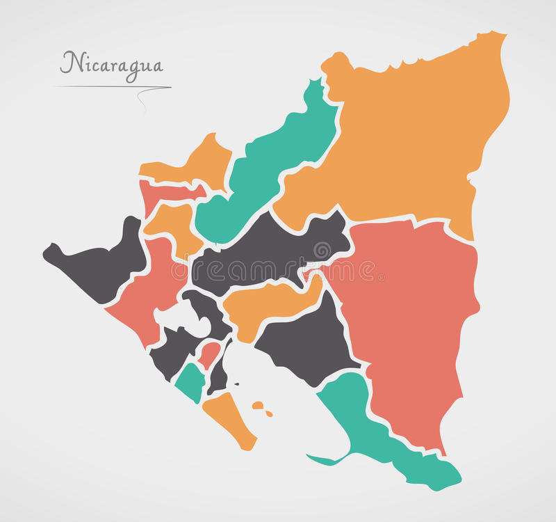 Nicaragua Map with states and modern round shapes vector illustration