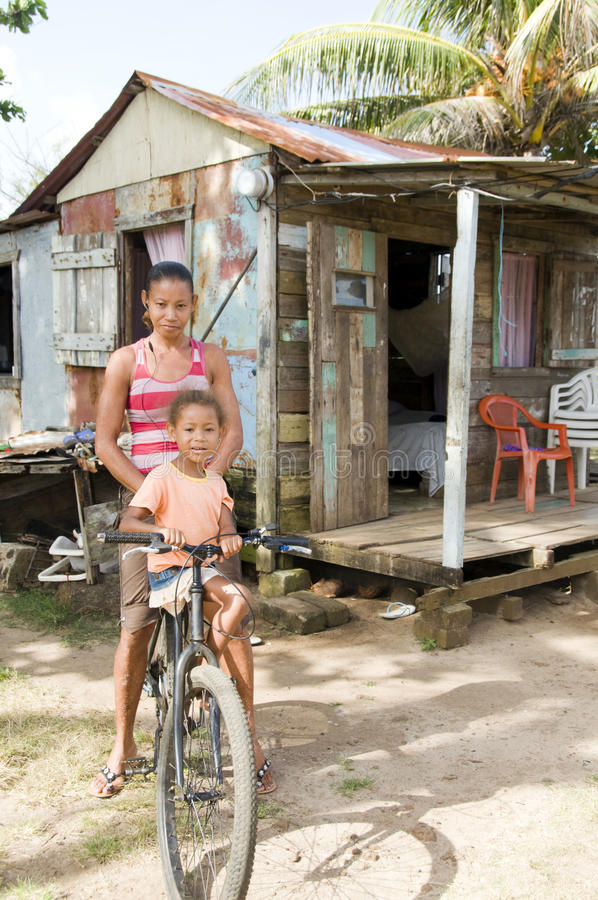 Nicaragua mother daughter house royalty free stock photos
