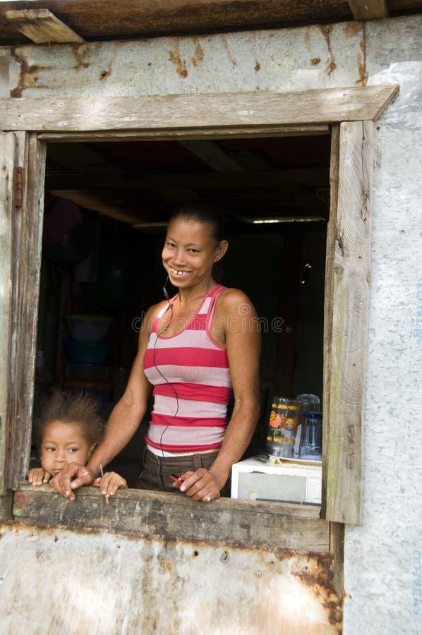 Nicaragua mother daughter house Corn Island stock image