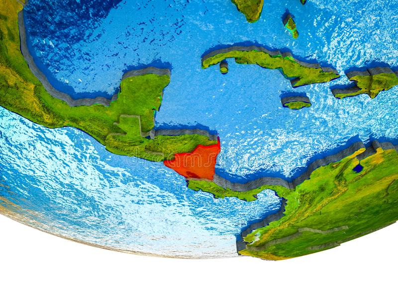Nicaragua op 3D Aarde royalty-vrije stock afbeeldingen