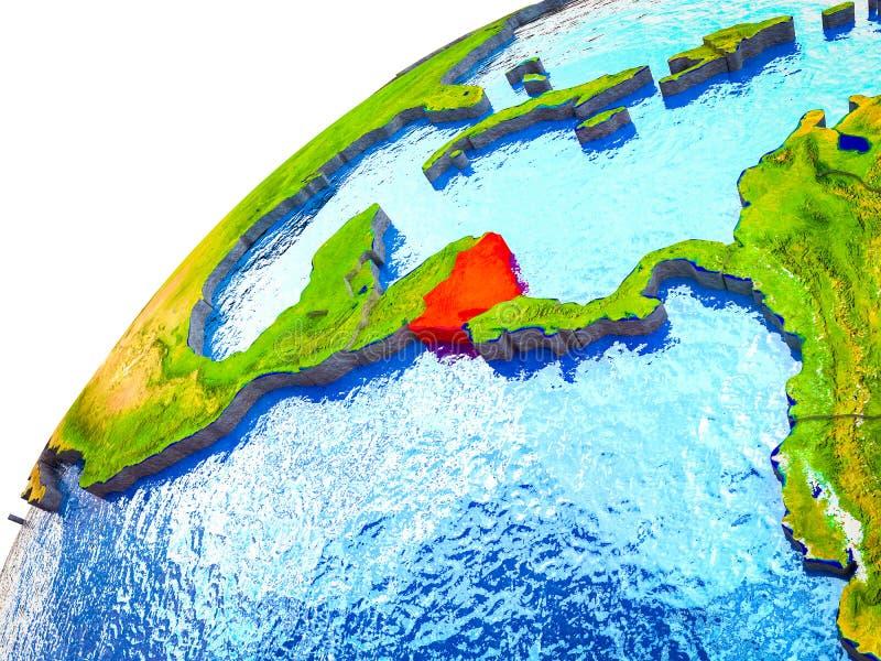 Nicaragua op 3D Aarde royalty-vrije stock foto