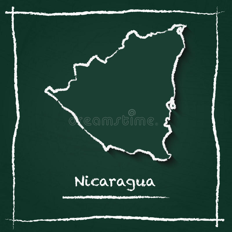 Nicaragua Outline Vector Map Hand Drawn With Stock Vector - Nicaragua map download