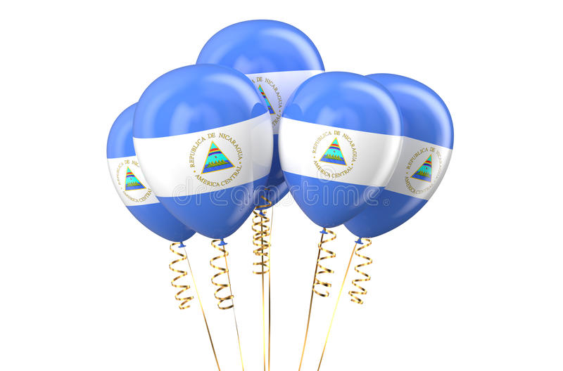 Nicaragua patriotic balloons, holyday concept. Isolated on white background stock illustration