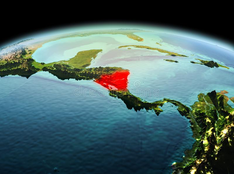 Nicaragua on planet Earth in space. Morning above Nicaragua highlighted in red on model of planet Earth in space. 3D illustration. Elements of this image stock images