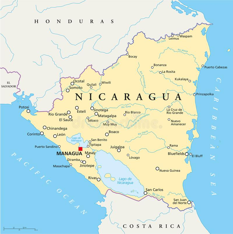 Nicaragua Political Map stock vector Illustration of boaco 102848998