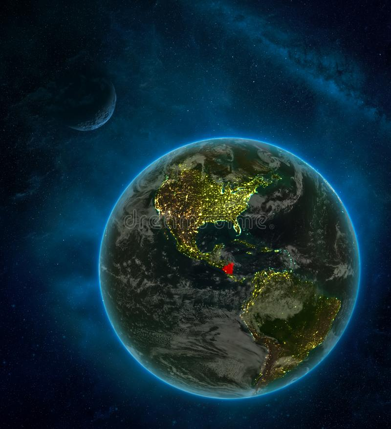 Nicaragua from space on Earth at night surrounded by space with Moon and Milky Way. Detailed planet with city lights and clouds. 3D illustration. Elements of stock illustration