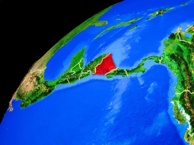 Nicaragua ter wereld van ruimte royalty-vrije stock afbeelding