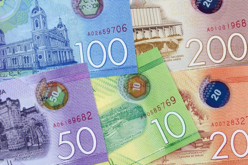 Nicaraguan geld een achtergrond stock foto's