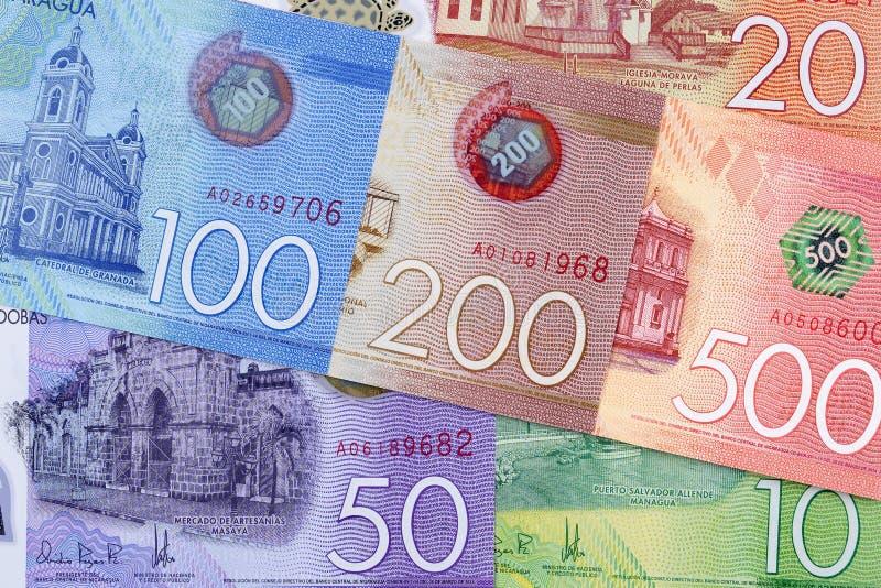 Nicaraguan geld een achtergrond stock afbeeldingen