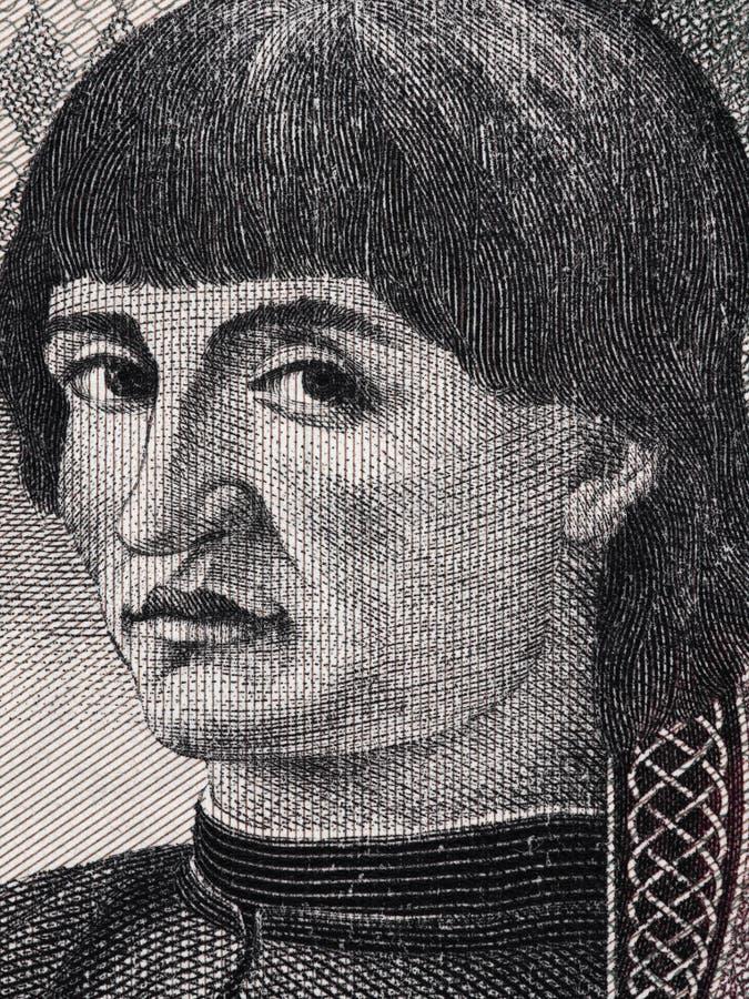 Niccolo Machiavelli stawia czoło portret na Włoskiego lira banknotu zakończeniu zdjęcia royalty free