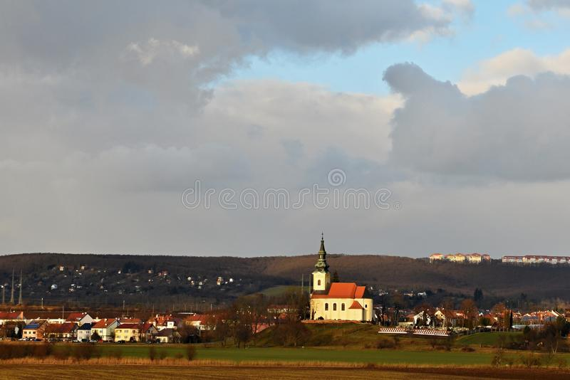 Nice ancient church. Troubsko - South Moravia - Czech Republic. Church of the Assumption. Nice ancient church. Troubsko - South Moravia - Czech Republic. Church stock photos