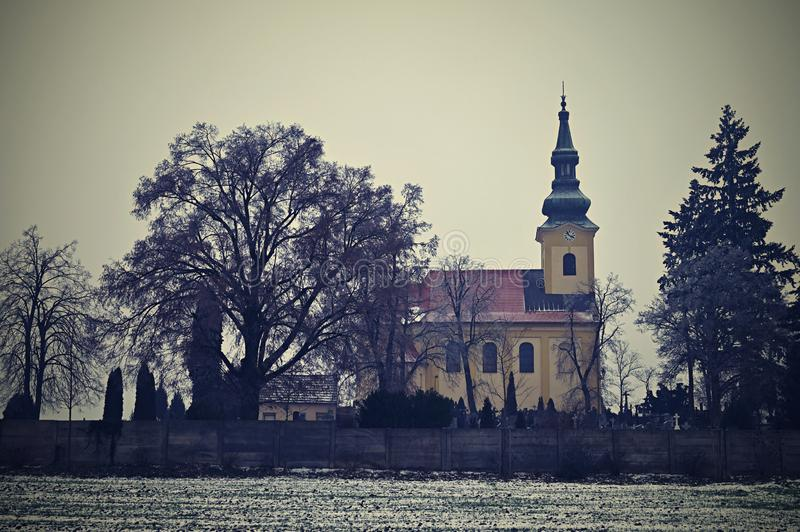 Nice ancient church. Troubsko - South Moravia - Czech Republic. Church of the Assumption.  royalty free stock photos