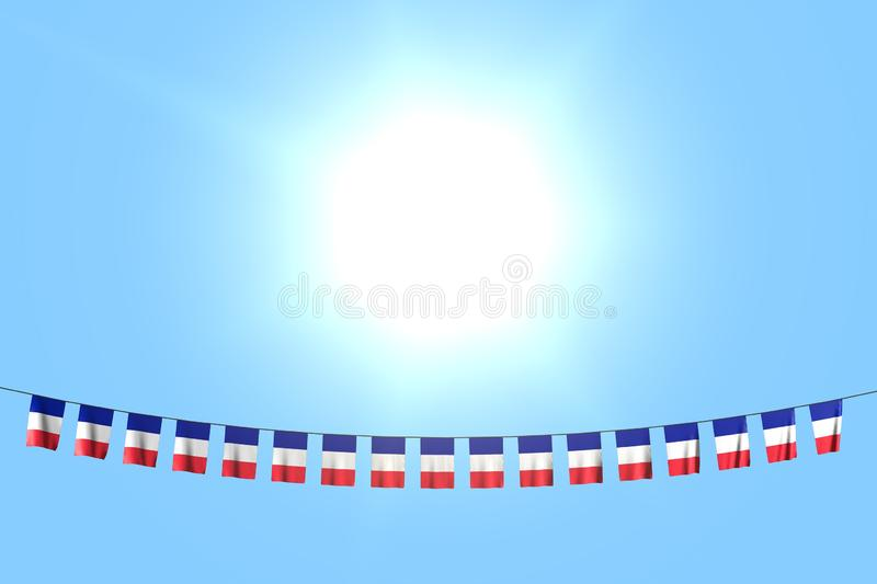 Nice anthem day flag 3d illustration - many France flags or banners hangs on string on blue sky background. Pretty many France flags or banners hanging on string vector illustration