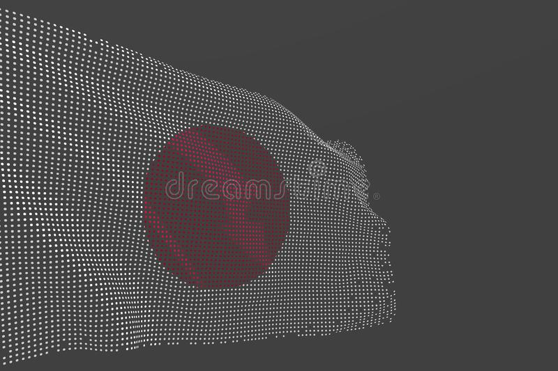 Nice modern picture of Japan isolated flag made of glowing dots wave on grey background - any feast flag 3d illustration. Nice any feast flag 3d illustration royalty free illustration