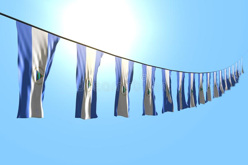 Nice any feast flag 3d illustration - many Nicaragua flags or banners hangs diagonal on string on blue sky background with bokeh. Beautiful many Nicaragua flags vector illustration