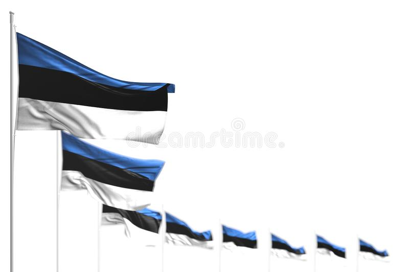 Nice any holiday flag 3d illustration - Estonia isolated flags placed diagonal, photo with selective focus and place for text. Nice Estonia isolated flags placed stock illustration