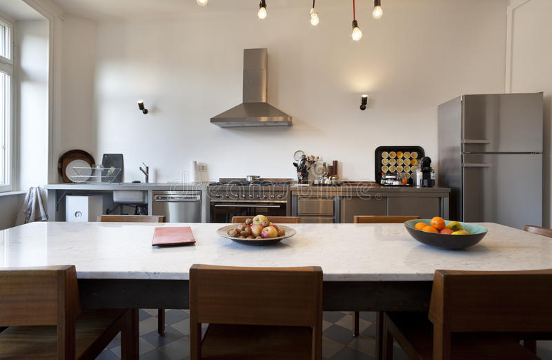 Nice apartment refitted, kitchen view royalty free stock image