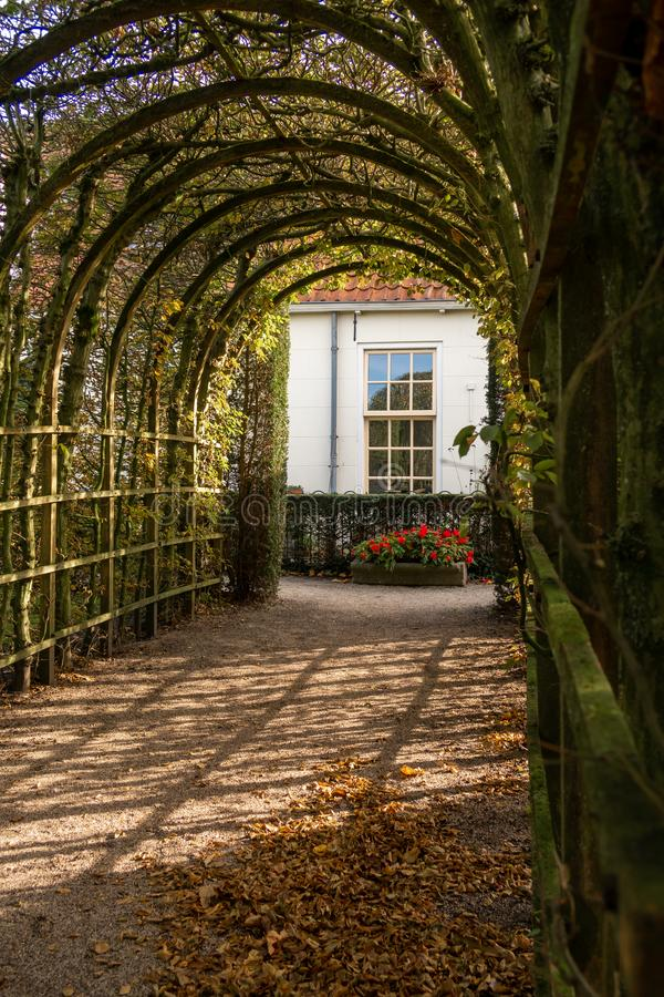 A nice arbor in the Netherlands, city Groningen, province Groningen. Garden is called the `prinsentuin stock photo