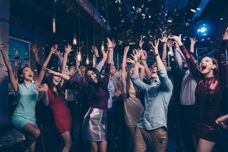 Nice attractive lovely smart shine glamorous stylish trendy fashionable cheerful positive girl and guys having fun chill royalty free stock image
