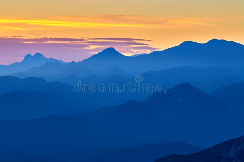 Nice autumn mountain landscape from Pyrenees in Spain stock image