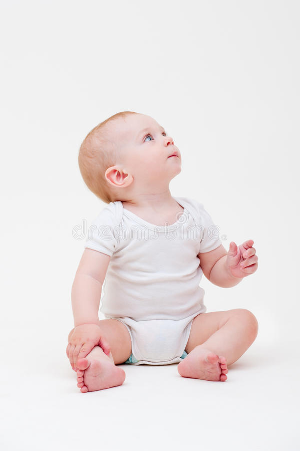 Nice Baby In White T-shirt Royalty Free Stock Images