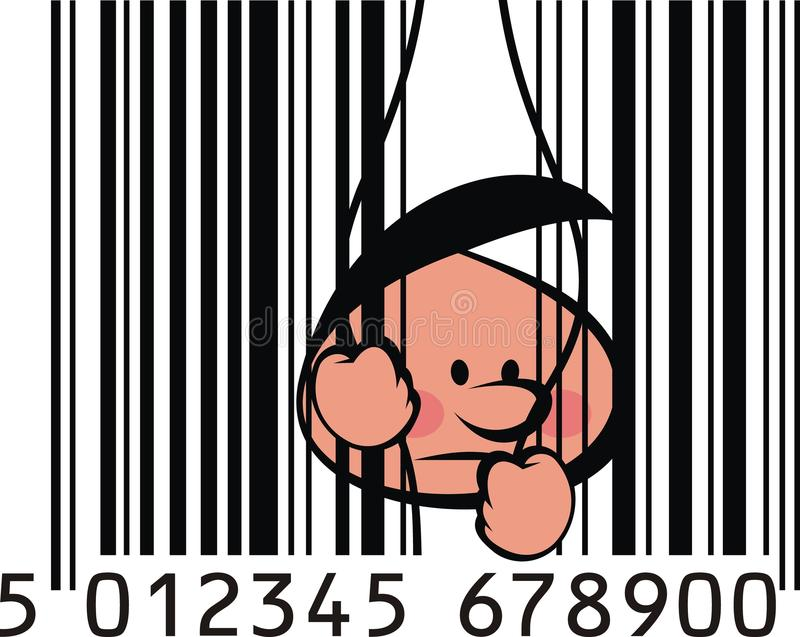 Nice barcode. With small boy inside this vector illustration