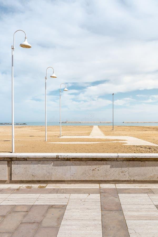 Nice beach promenade in Pescara. Nice beach promenade with new lanterns in Pescara city, Italy royalty free stock photos