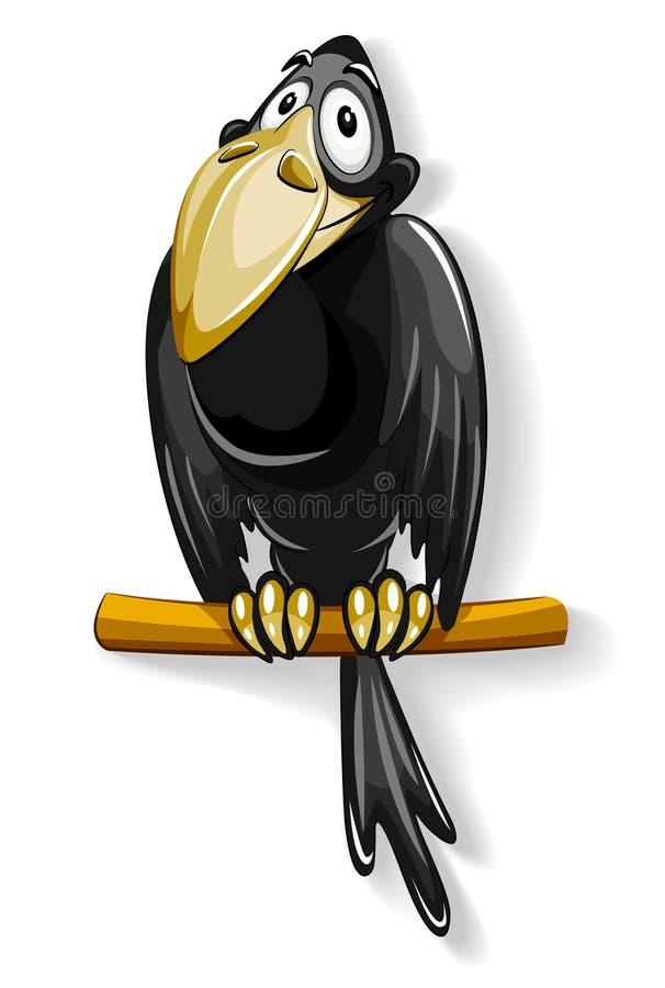 Nice black crow sitting on pole royalty free illustration