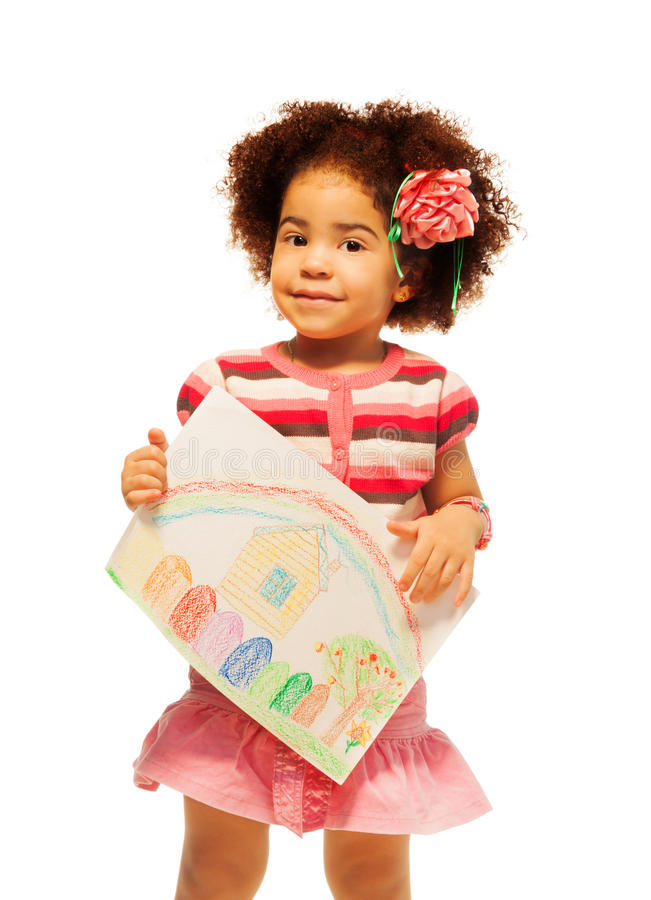 Download nice black little girl with drawing stock photo image of female little