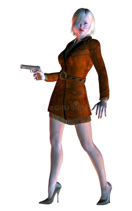 Nice blond girl, elegant lady, armed with gun, 3d illustration stock illustration